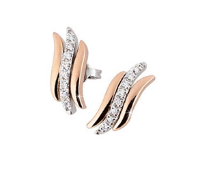 italian diamond pink white gold earrings