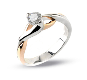 italian pink white gold solitaire diamond engagement ring