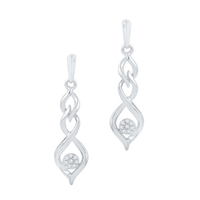 twine drop white gold earrings