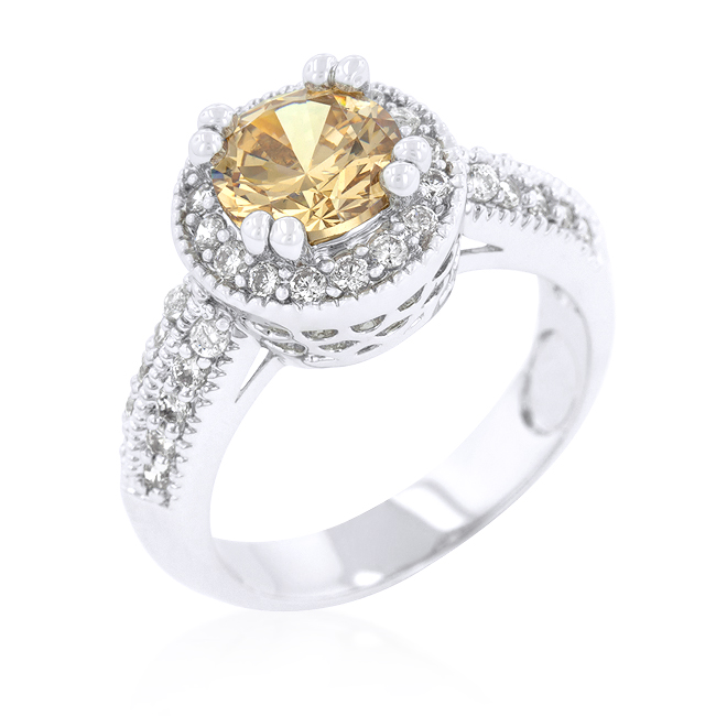 Halo Engagement Ring with Round Champagne CZ Under $100