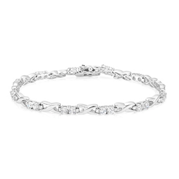 Classic Alternating CZ Link Tennis Bracelet 1.92 CT