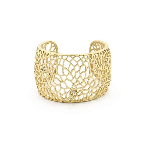 Contemporary Matte Gold Floral Filigree Cuff