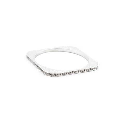 Fashion Hammered CZ Square Bangle