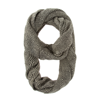 Black Patterned Infinity Scarf