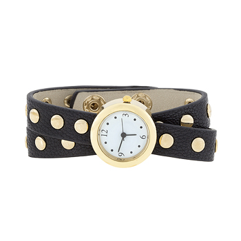 Black Round Studded Wrap Watch