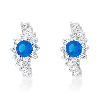Classic Sapphire Blue Hoop Earrings 5.14 CT