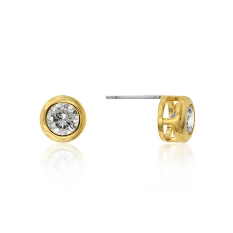 Classic Gold Bezel Stud Earrings