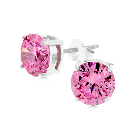 Classic Blossom Stud CZ Silver Earrings