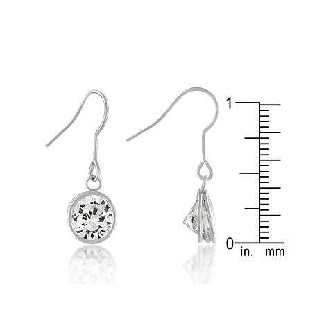 Bezel Solitaire Drop Earrings