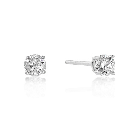 Classic 4mm New Sterling Round Cut CZ Studs Silver