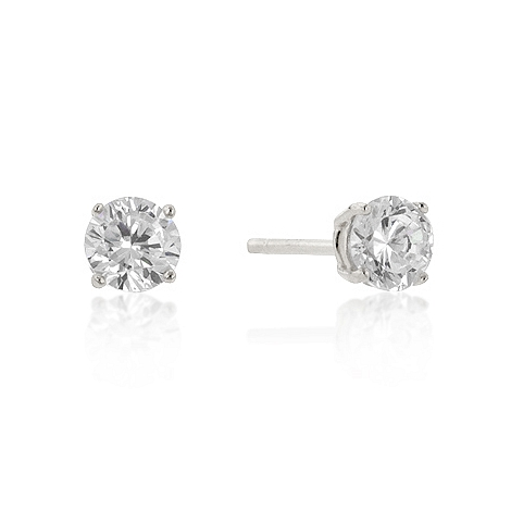 Classic 5mm New Sterling Round Cut CZ Studs Silver