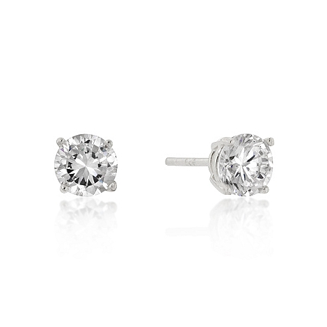 Classic 6mm New Sterling Round Cut CZ Studs Silver