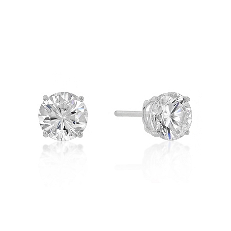 Classic 7mm New Sterling Round Cut CZ Studs Silver