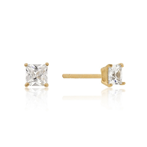 Classic 4mm New Sterling Silver Princess Cut CZ Studs Gold