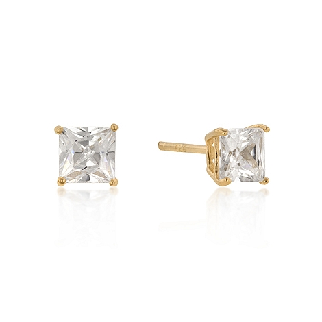 Classic 5mm New Sterling Silver Princess Cut Studs Gold