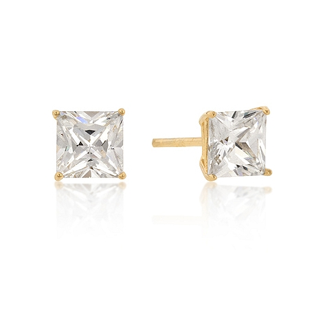 Classic 6mm New Sterling Silver Princess Cut CZ Studs Gold