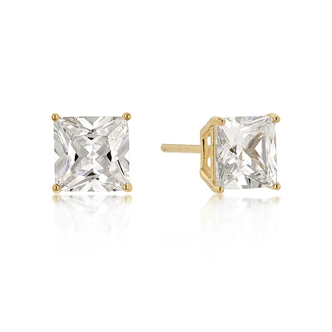 Classic 7mm New Sterling Silver Round Cut CZ Studs Gold