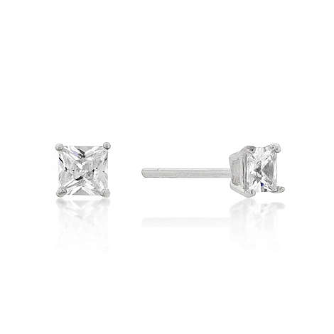 Classic 4mm New Sterling Princess Cut CZ Studs Silver
