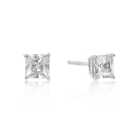 Classic 5mm New Sterling Princess Cut CZ Studs Silver