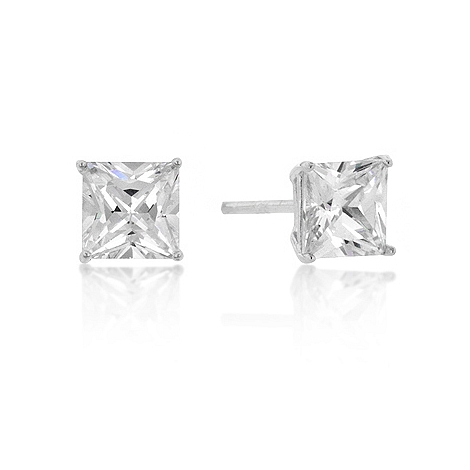 Classic 6mm New Sterling Princess Cut CZ Studs Silver