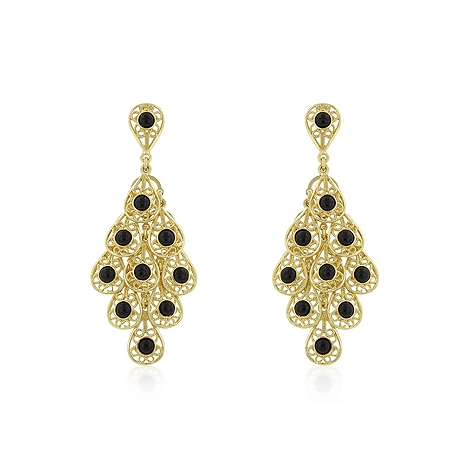 Fashion Onyx Filigree Chandelier Earrings
