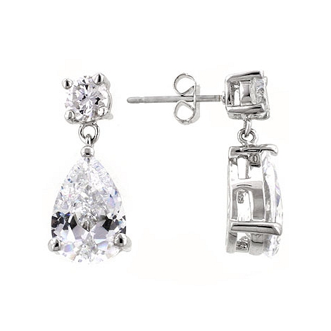Elegant CZ Drop Earrings - Unique Design Jewelry