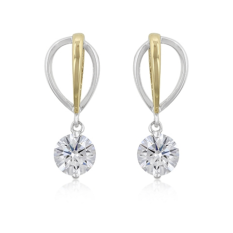 Tutone CZ Drop Earrings - Jewelry Shop