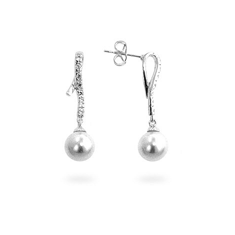 Pearl CZ Dangle Earrings - DT Jewelry Store