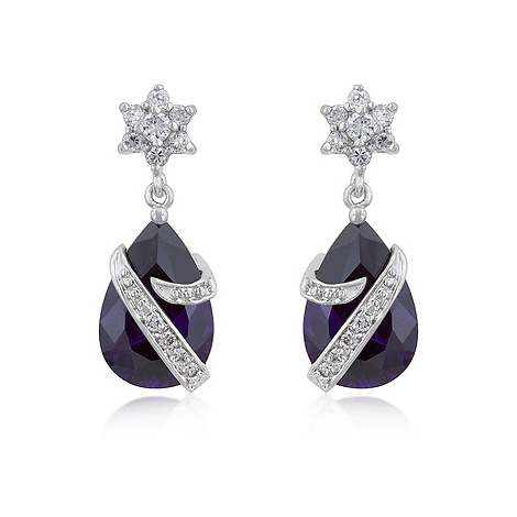 Contemporary Royal Wrapped Amethyst Earrings