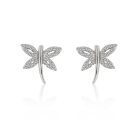 Animal Inspired CZ Dragonfly Earrings - Fashion Jewelry
