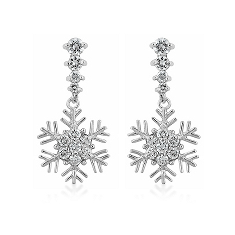 Symbolic Snowflake Drop Earrings