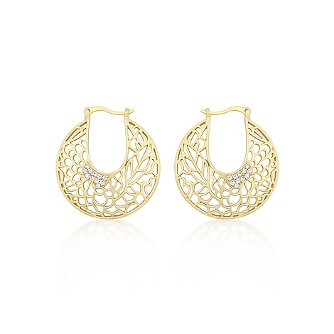 Contemporary Matte Gold Floral Filigree Hoop Earrings