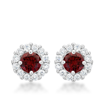 Classic Bella Bridal Earrings in Garnet Red 2.52 CT