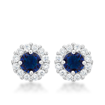Classic Bella Bridal Earrings in Blue 2.52 CT