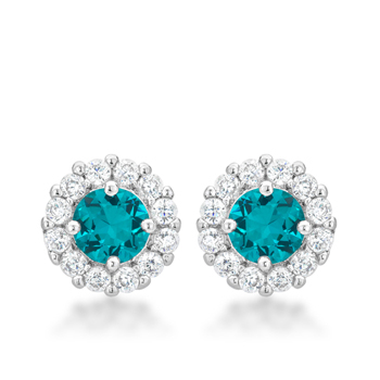Classic Bella Bridal Earrings in Aqua 2.52 CT