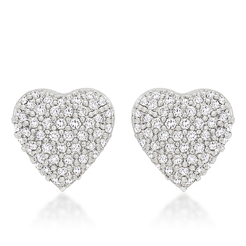 Special Pave Heart Earrings .7 CT