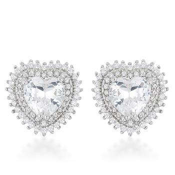 Halo Heart Earrings 4.84 CT