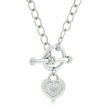 Toggle Pave Heart Necklace - Perfect Jewellery Gift