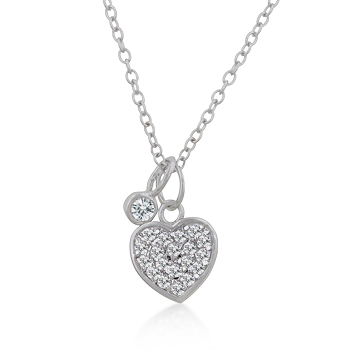 Contemporary Silver Heart Charm Pave Necklace