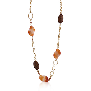 Contemporary Gold Chain Necklace Warm Colored Stones