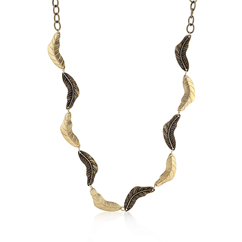 Contemporary Vintage Leaf Tutone Necklace