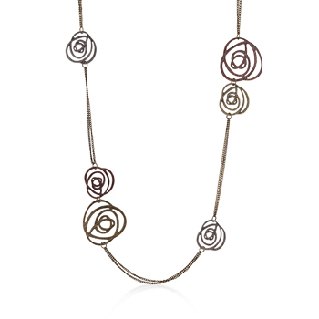 Contemporary Antique Filigree Rose Tri-Tone Necklace