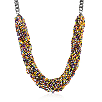 Contemporary Multicolor Acrylic Bead Twisting Necklace
