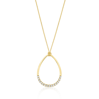 Contemporary Golden Crystal Teardrop Necklace
