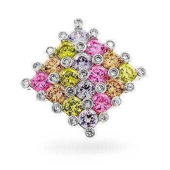 Contemporary Pink Yellow CZ Cube Pendant