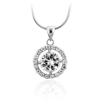 Halo Silvertone CZ Circlet Pendant & Necklace