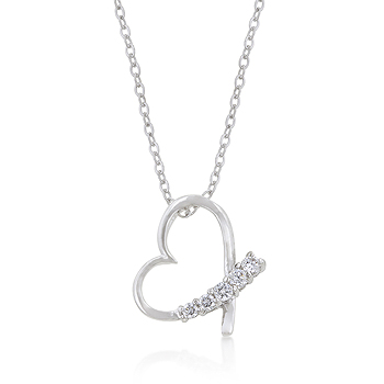 5-Stone 0.4 CARAT Unique Heart Pendant & Necklace
