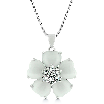 Contemporary White Cats Eye CZ Flower Pendant