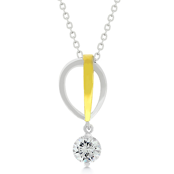 Exquisite Two-tone Raindrop CZ Pendant From ENCORE DT