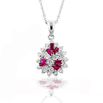 Classic Mixed Ruby Cluster Pendant
